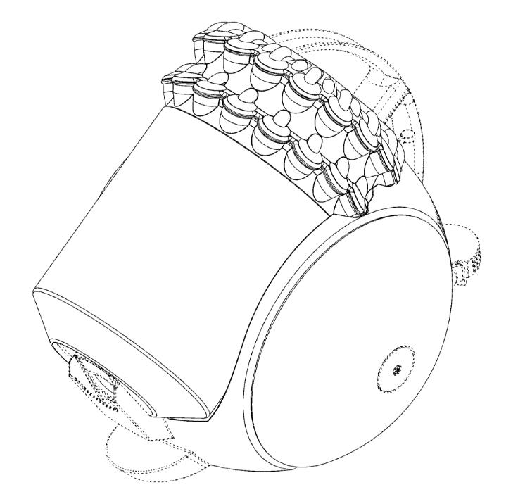 サイクロン掃除機本体の意匠登録 引用元:意匠登録1519889 - ダイソン・テクノロジー・リミテッド
